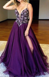 Sexy Slit Prom Dress,Purple Prom Gown.Beaded Party Dress,JJ343