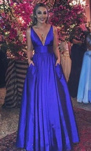 Royal Blue Prom Dress,Long V-neck Party Dress,Full Length Prom Gown,JJ344