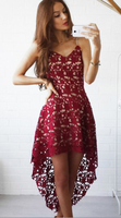 High-low Burgundy V-neck Straps Homecoming Dress Asymmetrical Lace Short Prom Dress,JJ345