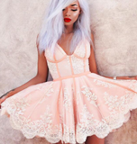 Sexy A-Line Spaghetti Straps Tulle Short Homecoming Dresses with Lace Appliques,Mini Dress,JJ347