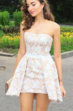 A-line Strapless Mini Lace Homecoming Dresses,Short Grad Dress,Sexy Junior Dresses,JJ 349