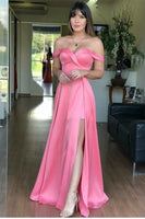 Fashion Pink Satin Long Prom Dress Sleeveless Formal Evening Dress With Slit,JJ355