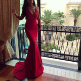Red mermaid dress,v neck evening gowns,long prom dress,sexy prom dress,elegant prom dress lace appliques,JJ356
