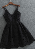 Cute Spaghetti Straps V Neck Black Lace Short Homecoming Dress,Mini Cocktail Dress,JJ358