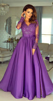 A-Line V-neck Long Sleeves Floor-Length Split Prom Dress with Appliques