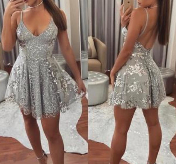 Silver Mini Spaghetti Straps Backless V-neck Lace Homecoming Dress,Short Prom Gown,JJ360