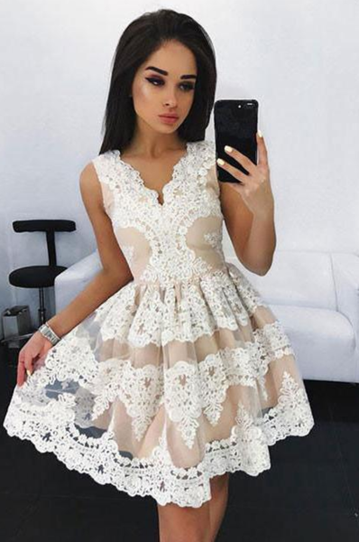 Cute Mini V-Neck Homecoming Dress,Lace Appliqued Short Prom Dress,Sweet 16 Dress,JJ361