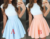 A-Line Cap Sleeves Short Chiffon Homecoming Dress with Lace Top,Mini Prom Dress,JJ363