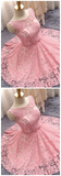 Light Plum Sleeveless Bateau Lace Homecoming Dress with Bowknot Belt,Short Grad Dress,JJ364