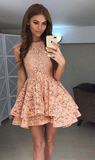 A-Line Round Neck Lace Mini Prom Dress,Cute Lace Short Homecoming DressJJ371