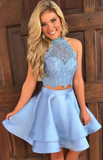 Princess Halter Two Piece Homecoming Dresses,Mini Sleeveless Lace Short Prom Dresses,JJ372