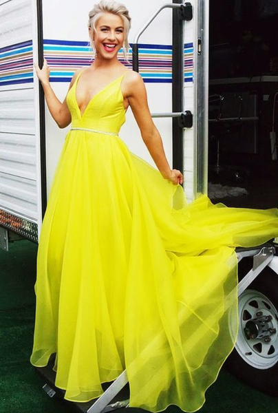 Party Dresses,Yellow Evening Gowns , A-Line Prom Dress,JJ376