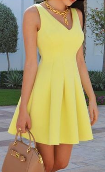 Yellow V Neck A Line Mini Casual Sexy Party Prom Dresses,JJ381