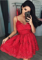 A-Line V-Neck Short Red Tulle Homecoming Dress with Appliques Beading,JJ382