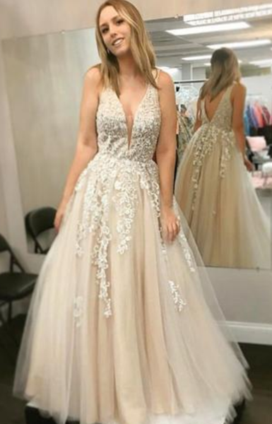 FASHION A LINE DEEP V NECK LACE APPLIQUES OPEN BACK FORMAL PROM DRESSES EVENING GRAD DRESS,JJ393