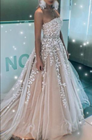 FASHION A LINE STRAPLESS LACE APPLIQUES BEADED FORMAL PROM DRESSES EVENING GRAD DRESS,JJ395