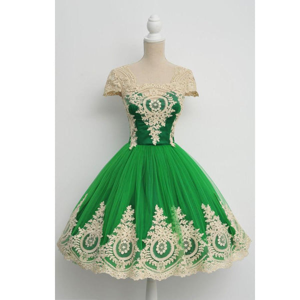 Cap Sleeves Lovely Green Unique Applique Short Homecoming Dresses, JJ39