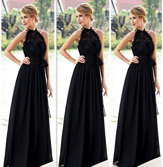 A-Line Black Prom Dress,Simple Lace Tulle Prom Dresses,Evening Dress,B63
