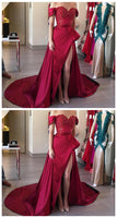 Off the Shoulder Dark Red Prom Dress with Slit, Long Prom Dress,Prom Dresses,Evening Gown,Floor Length Long Prom Dresses,JJ411