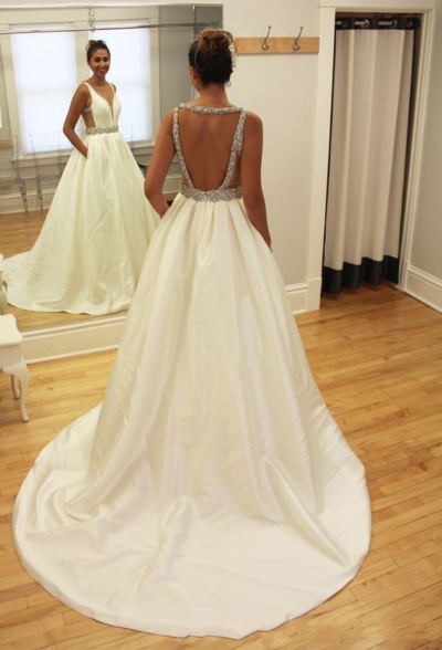 pen Back Bridal Ball Gown with Beading,A Line Wedding Dress with Pockets,Beautiful Prom Dress,4176