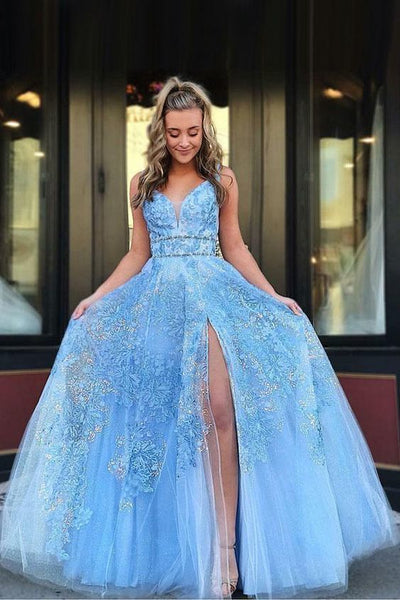 Light Blue Floor Length Sleeveless Lace Prom Dresses,JJ432