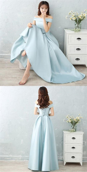 Elegant Sleeveless Backless A Line Satin Prom Dresses Long Evening Dresses ,4349