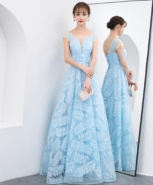Blue lace long prom dress, blue lace evening dress by MeetBeauty,JJ436