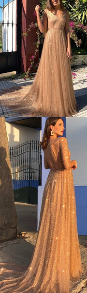 Gold Sequins Prom Dress Cheap Long 3/4-Length Prom Dress,JJ437