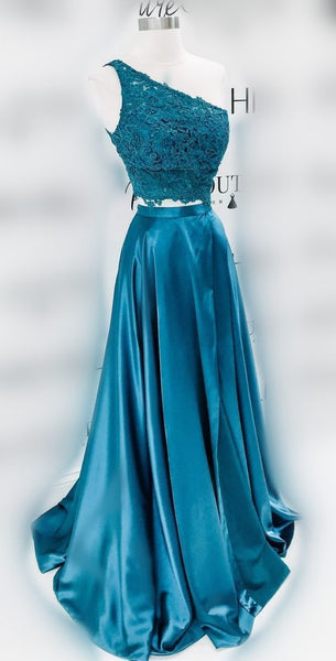 two piece prom dresses, one shoulder blue prom dresses,JJ440