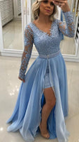 Blue Long-Sleeve Lace Evening Dresses Beaded A-Line Prom Dresses,JJ444