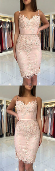 Short Spaghetti Straps Sweetheart Sheath Lace Homecoming Dresses,JJ455
