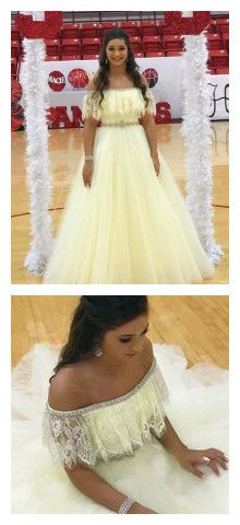 Stunning Beaded evening dress,sexy ball gowns, custom made ,new fashion,Lace Off The Shoulder Tulle Prom Dresses Long Evening Gowns,JJ459