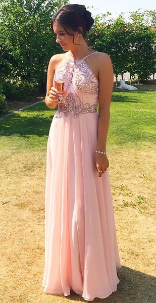 Beautiful Elegant Pink Chiffon Long Prom Dress with Beading Top, Gorgeous Long Graduation Dress,JJ461