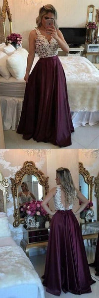 Long Prom Dresses, V-neck Party Dresses Lace, A-line Formal Evening Dresses Satin with Appliques , B46