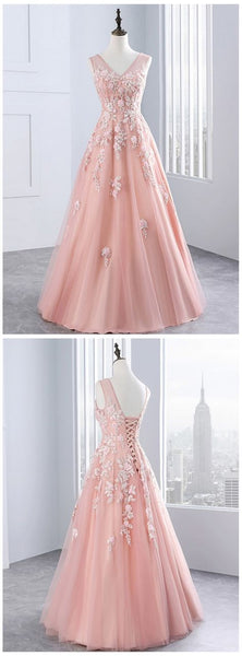 Pink tulle evening dress,sexy ball gowns, custom made ,new fashion, V neck evening dress with lace appliqués, long sweet 16 prom dresses,JJ470