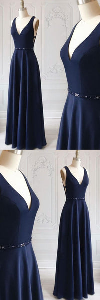 Simple blue v neck long prom dress, blue evening dress,JJ473
