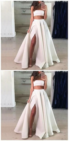 Two Piece Strapless Split Front White Long Prom dress,JJ479