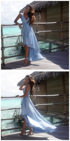 Gorgeous Simple A-line High Low Sky Blue Prom Dress Homecoming Dress Bridesmaid Dress,JJ480