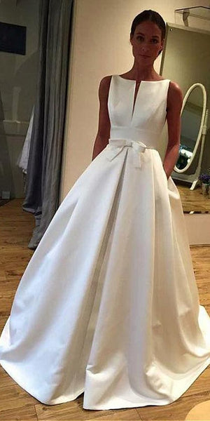 Elegant Satin Bateau Neckline A-line Wedding Dress With Bowknot & Pockets,JJ485