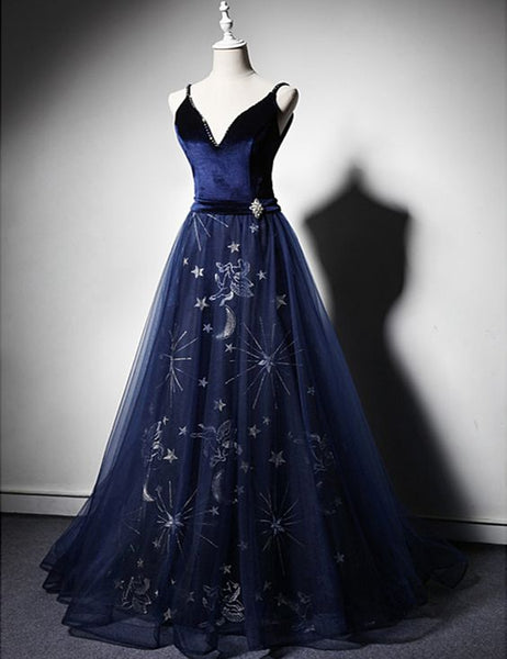 Navy Blue Velvet Long Floral Tulle Open Back Evening Dress, Beaded Senior Prom Dress,4928