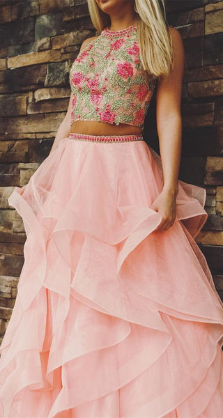 two piece pink long prom dress, ball gown,JJ492