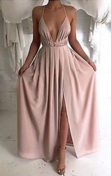 prom dress with side slit, graduation dress, formal evening dress,JJ492