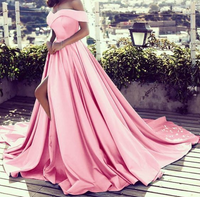 blush pink prom dress off the shoulder satin evening gowns with slit,JJ495