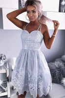 A-Line Spaghetti Straps Above-Knee Grey Lace Homecoming Dress,JJ497