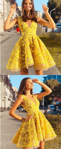 A-Line V-Neck Yellow Short Prom Party Dress with Appliques,JJ499
