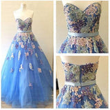 A Line Prom Dresses,Long Prom Dress,Formal Evening Dress,Appliques Backless Evening Dress,B74