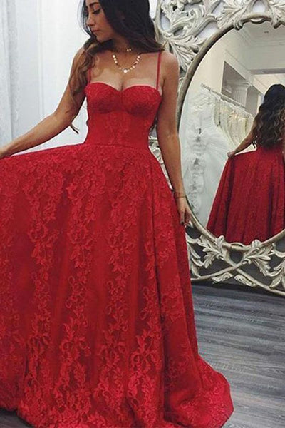 Red Prom Dresses, Long Lace Evening Dress, Formal Dress ,5023
