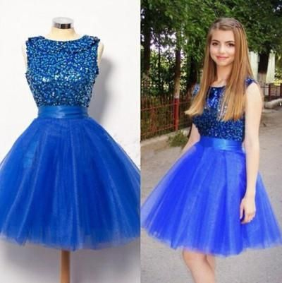 royal blue Homecoming dress,short prom Dress,A-line Prom Dresses,prom dress for girls,JJ503