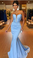 Plunging Sweetheart Prom Dress Light Blue Mermaid Formal,JJ516