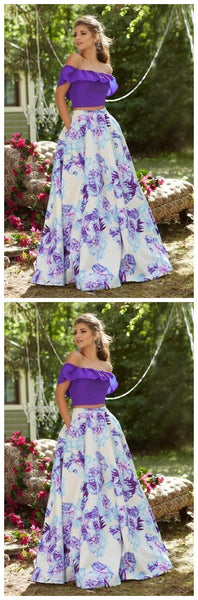 Off-the-Shoulder Neckline Prom Dress,Floral Printed Taffeta Skirt,JJ52
